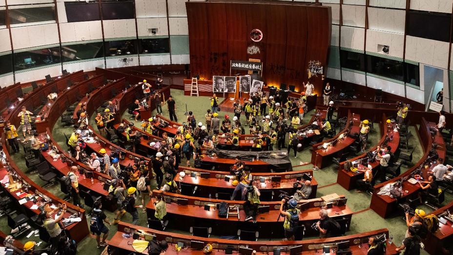 Protestors at Hong Kong Legislative Council - Getty - H 2019