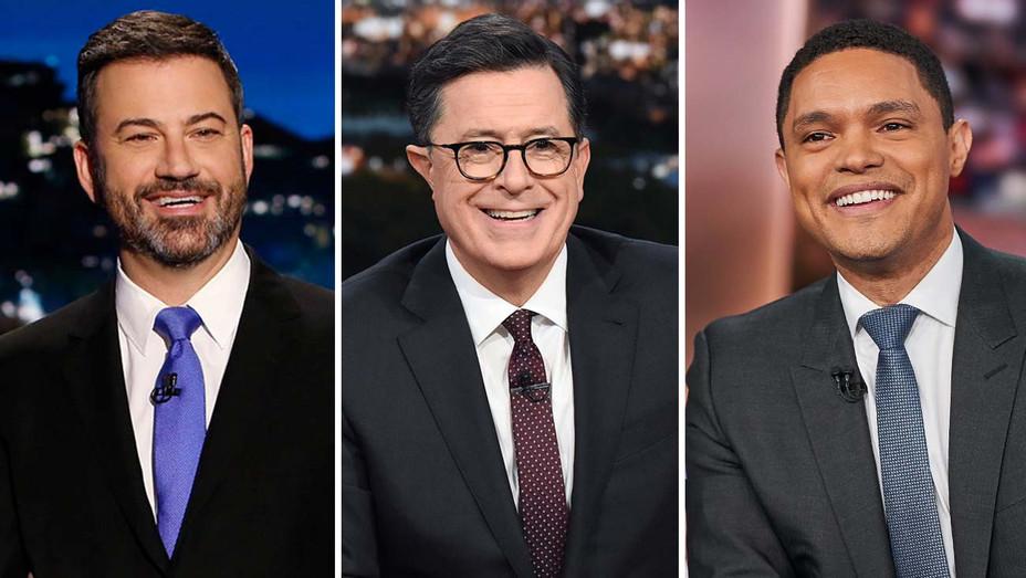 Jimmy Kimmel, Stephen Colbert and Trevor Noah Publicity-Split-H 2019
