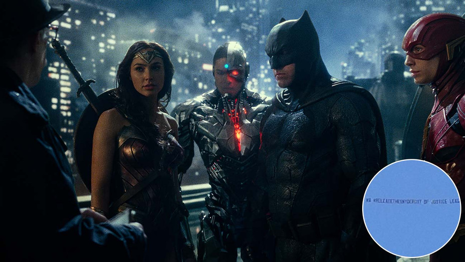 Justice League still and inset of Sky-H 2019
