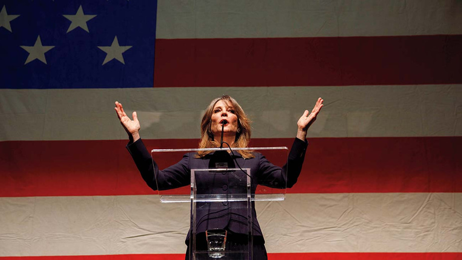 ONE TIME USE ONLY-Author Marianne Williamson speaks during the announcement of her presidential campaign-Newscom-H 2019