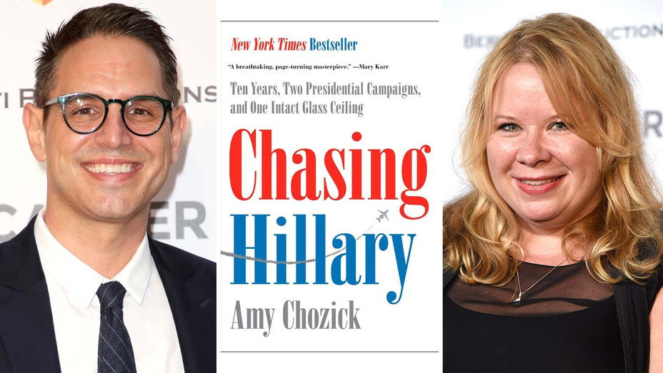 """Greg Berlanti - book cover for """"Chasing Hillary"""" by Amy Chozick -third Julie Plec - Getty - Publicity - Getty - Split - H 2019"""