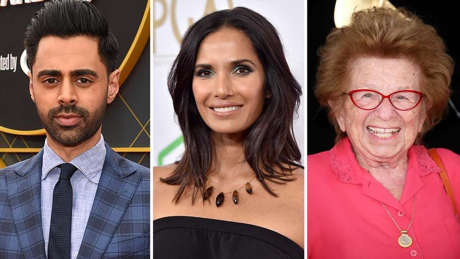 Hasan Minhaj, Padma Lakshmi and Dr. Ruth - Getty-Split-H 2019