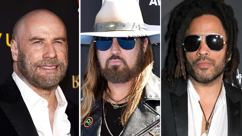 John Travolta, Billy Ray Cyrus and Lenny Kravitz-Getty-Split-H 2019