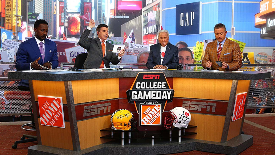 Lee Corso, Kirk Herbstreit, Chris Fowler are seen during ESPN's College GameDay show-2-Getty-H 2019