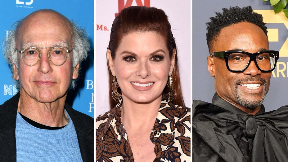 Larry David, Debra Messing, Billy Porter- Getty - Split - H 2019
