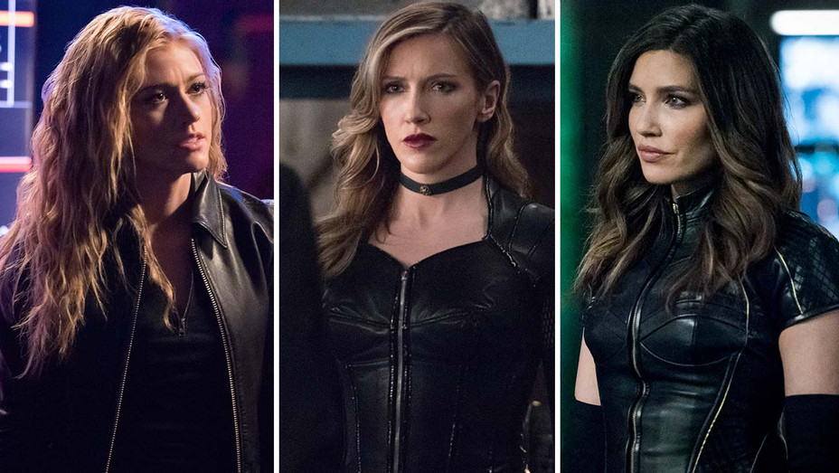 Arrow's (CW) Katherine McNamara, Katie Cassidy and Juliana Harkavy-Split -Publicity-H 201