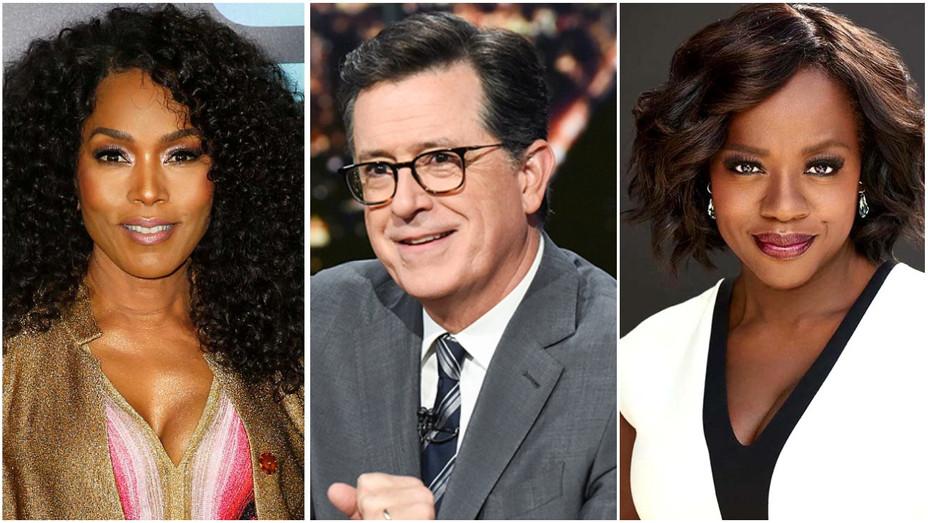 Angela Bassett, Stephen Colbert, Viola Davis Split - Getty - H 2019
