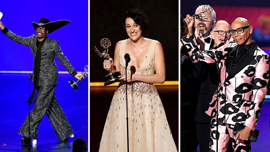 Billy Porter, Phoebe Waller-Bridge and RuPaul- Emmy winners 2019 - Getty - Split - H 2019