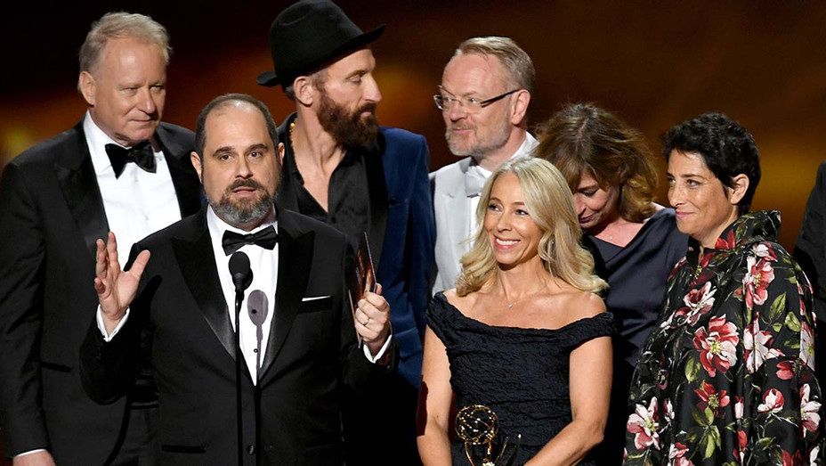 Chernobyl onstage accepting an award at the Emmys 2019 - Getty - H 2019