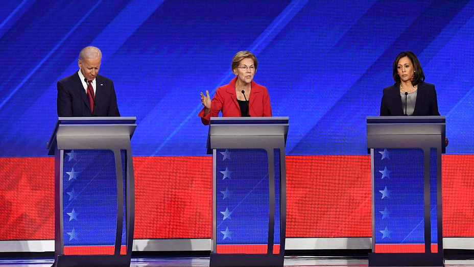 Democratic Debate_9-12_Joe Biden_Elizabeth Warren_Kamala Harris_2 - Getty - H 2019