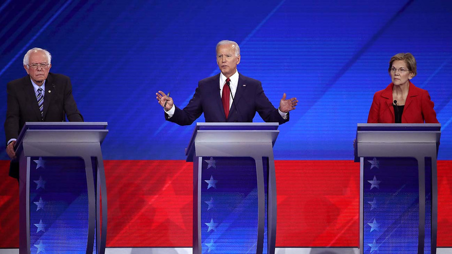Democratic Debate_9-12Bernie Sanders_Joe Biden_Elizabeth Warren_2 - Getty - H 2019