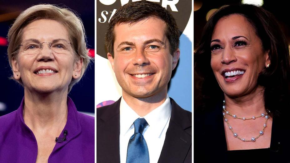 Elizabeth Warren, Pete Buttigieg and Kamala Harris - Getty - Split - H 2019
