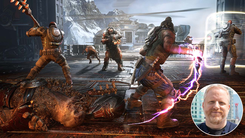 Gears 5 with inset of Rod Fergusson - Microsoft Publicity -H 02019