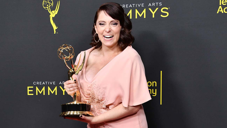 Rachel Bloom poses with the Outstanding Original Music and Lyrics Award for 'Crazy Ex-Girlfriend' - Getty-H 2019