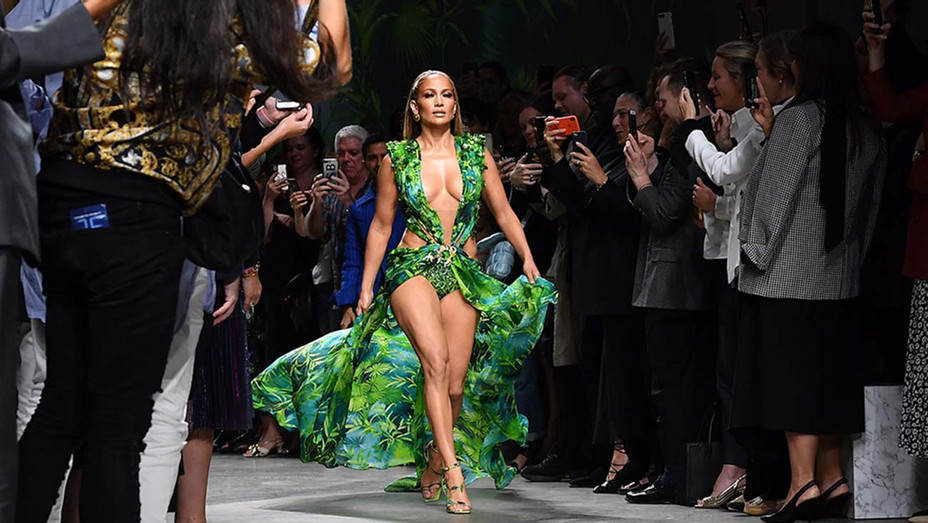 Jennifer Lopez at the Versace show - Getty - H 2019