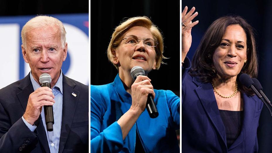 Joe Biden, Elizabeth Warren and Kamala Harris_Split - Getty - H 2019
