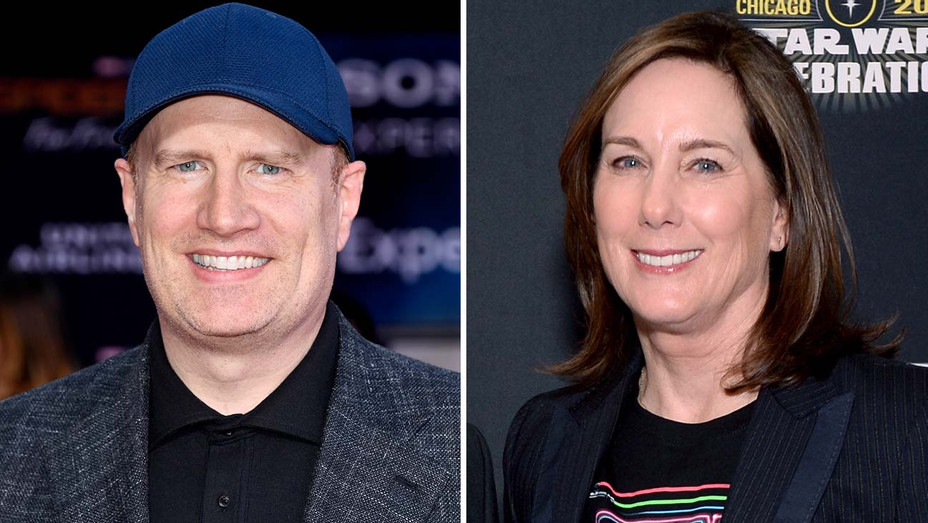 Kevin Feige and Kathleen Kennedy-SPLIT- Getty-H 2019