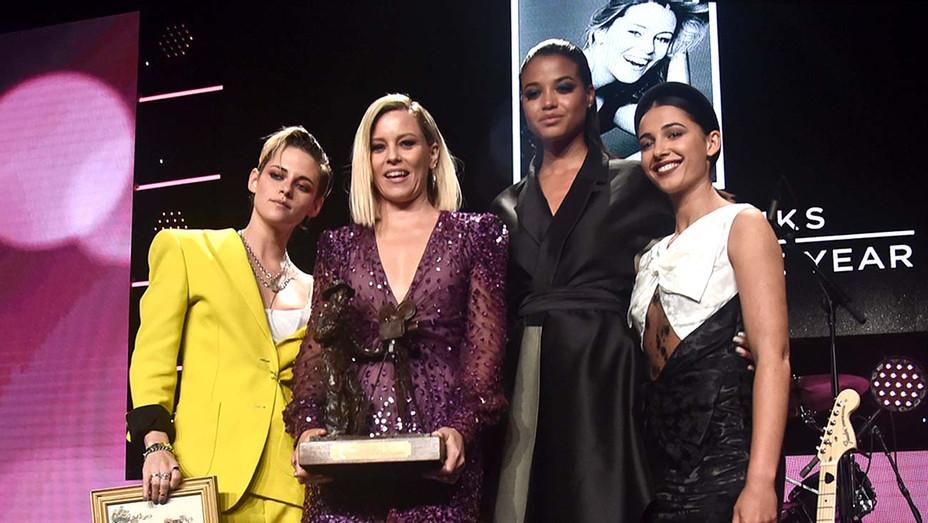 Kristen Stewart, Elizabeth Banks, Ella Balisnka and Naomi Scott- Will Rogers 78th Annual Pioneer Dinner Honoring Elizabeth Banks - Getty - H 2019
