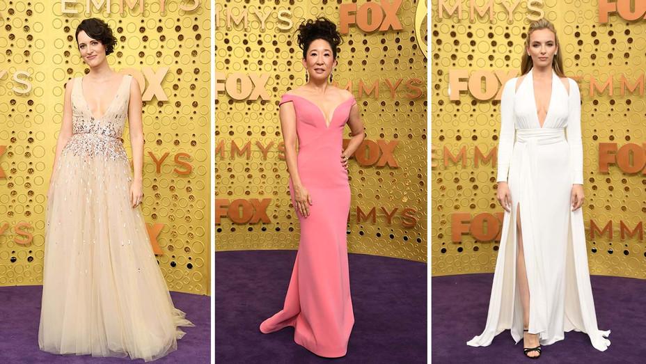 Phoebe Waller-Bridge, Sandra Oh and Jodie Comer - Emmys 2019 - Getty - Split - H 2019