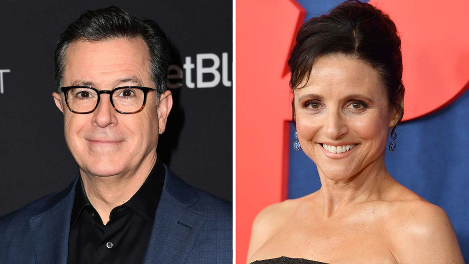Stephen Colbert and Julia Louis-Dreyfus - Getty - Split - H 2019
