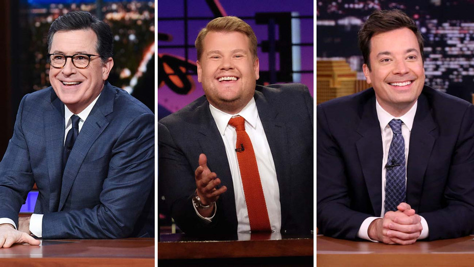 Stephen Colbert on The Late Show CBS, James Corden on The Late Late Show CBS and Jimmy Fallon on The Tonight Show NBC-Split-H 2019