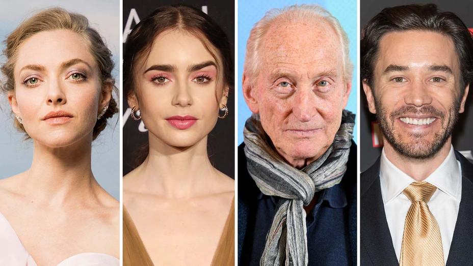 Amanda Seyfriend, Lily Collins, Charles Dance, Tom Pelphrey - Getty - Split - H 2019