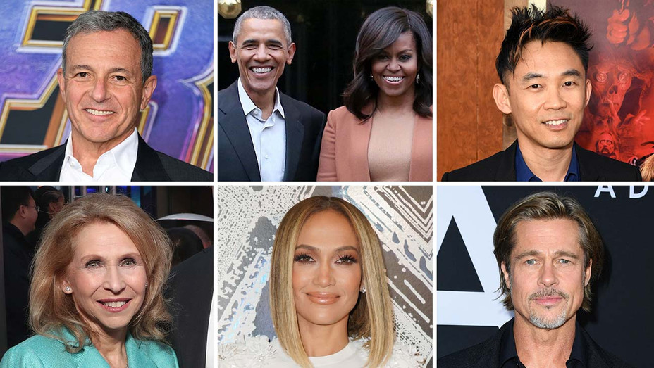 Bob Iger_the Obamas_James Wan_Shari Redstone_J. Lo_Brad Pitt_Split - Getty - H 2019