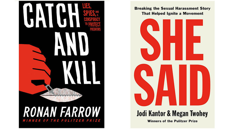'Catch and Kill' and 'She Said' book cover split - H 2019