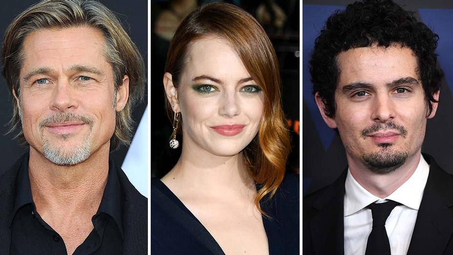 Brad Pitt, Emma Stone, Damian Chazelle Split- Getty-H 2019