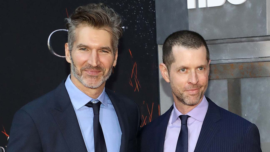 David Benioff and D.B. Weiss attend the Season 8 premiere of Game of Thrones - Getty -H 2019
