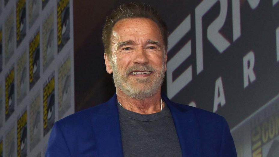 Arnold Schwarzenegger arrives for the Terminator: Dark Fate panel - Getty -H 2019