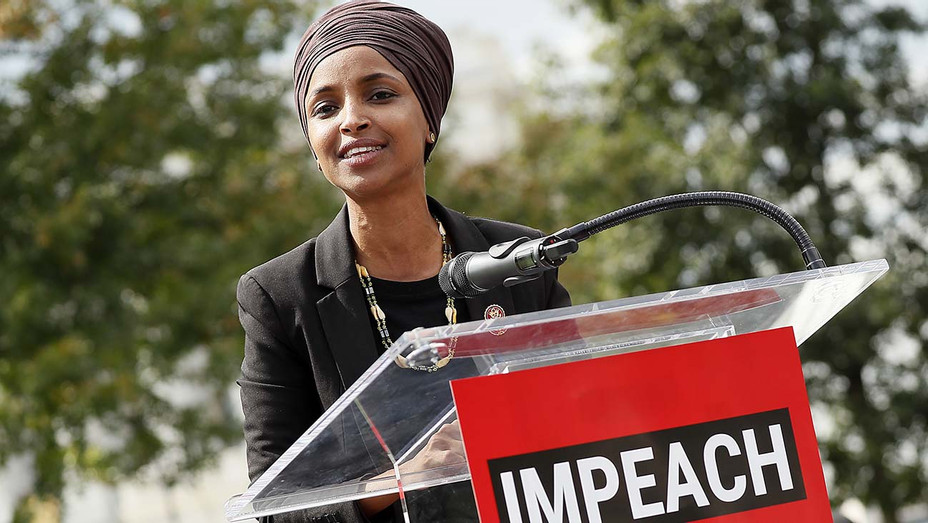 """Ilhan Omar speaks at the """"Impeachment Now!"""" rally September 26, 2019in Washington, DC- Getty -H 2019"""