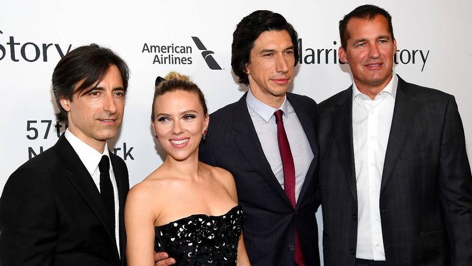 Noah Baumbach, Scarlett Johansson, Adam Driver and Scott Stuber at 'Marriage Story' NYFF Premiere - H Getty 2019