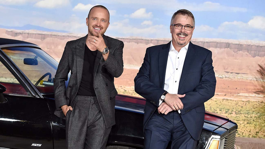 """Aaron Paul and Vince Gilligan attend the Premiere of Netflix's """"El Camino - Getty-H 2019"""