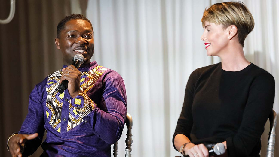 David Oyelowo and Charlize Theron speak at the GEANCO Foundation - Getty -H 2019