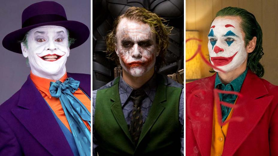 Jack Nicholson in Batman, Heath Ledger in The Dark Knight, Joaquin Phoenix in Joker - Photofest- Publicity - Split - H 2019