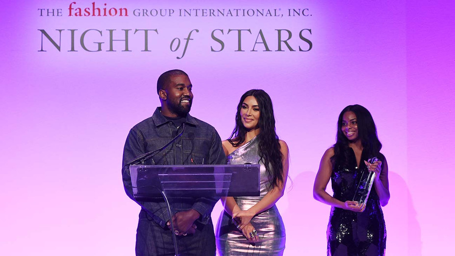 Kanye West and Kim Kardashian West speak onstage during the FGI 36th Annual Night of Stars Gala - Getty-H 2019