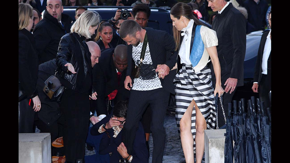 ONE TIME USE ONLY - Vitalii Sediuk tackles Justin Timberlake as he walks with Jessica Biel- SHUTTERSTOCK - H 2019
