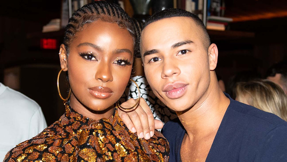 SAKS FIFTH AVENUE AND BALMAIN HOST PRIVATE COCKTAIL - Justine Skye and designer Olivier Rousteing - Publicity-H 2019