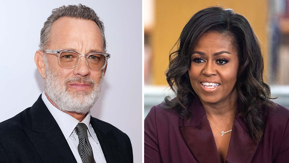 Tom Hanks and Michelle Obama- Getty - Split - H 2019