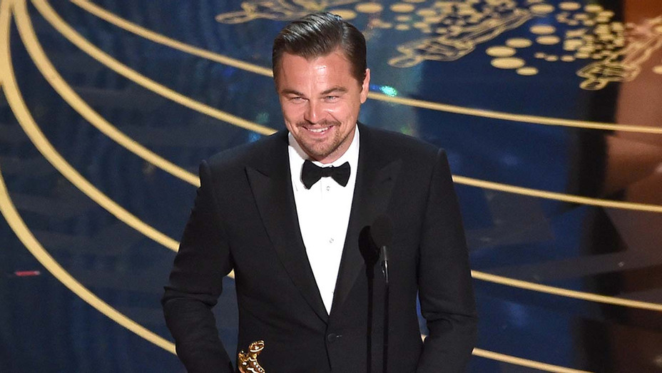Actor Leonardo DiCaprio accepts the Best Actor award for 'The Revenant' - Oscars - Getty - H 2019