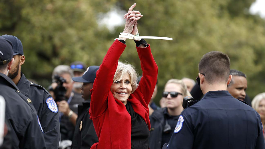 """Actress Jane Fonda is arrested during the """"Fire Drill Friday"""" Climate Change Protest - Getty - H 2019"""