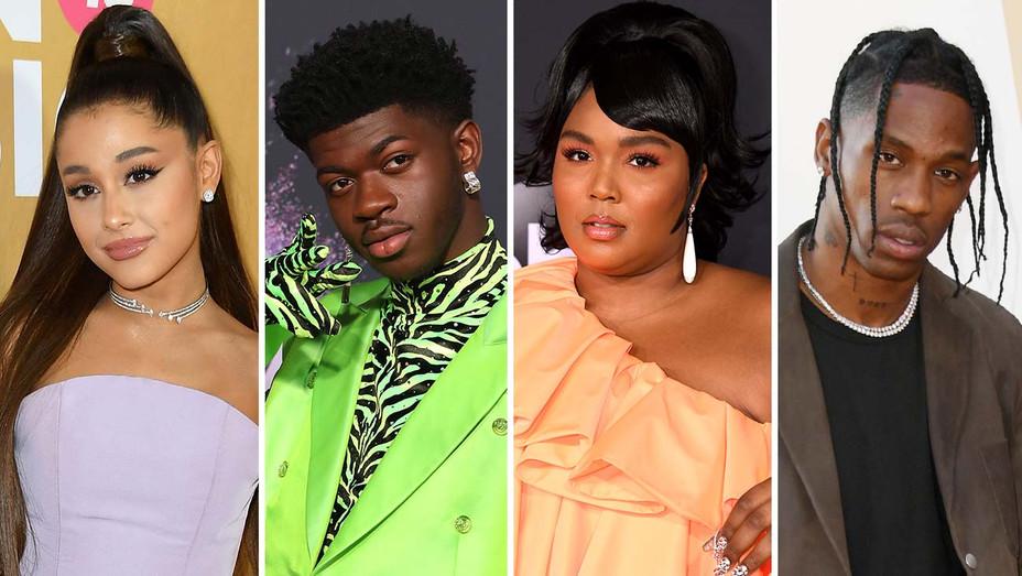 Ariana Grande, Lil Nas X, Lizzo and Travis Scott - Getty - Split - H 2019