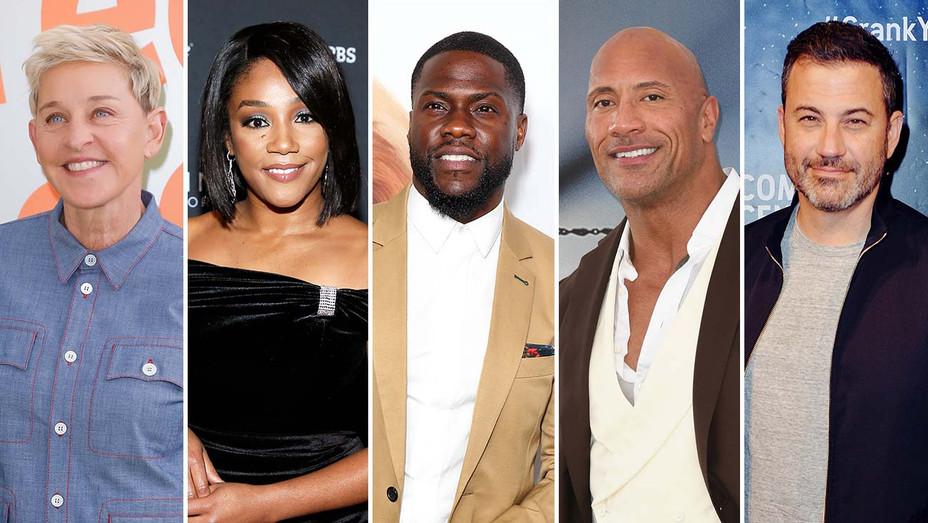 Ellen DeGeneres, Tiffany Haddish, Kevin Hart, Dwayne Johnson an Jimmy Kimmel_Split - Getty - H 2019