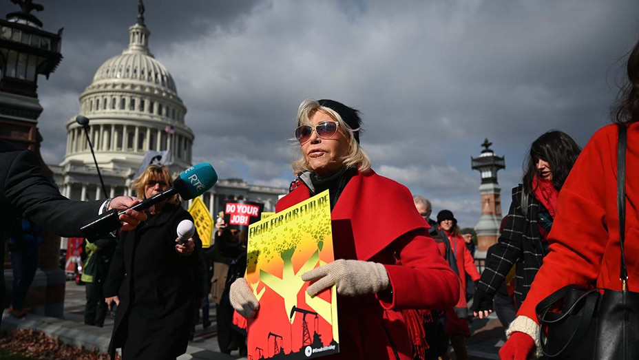 Jane Fonda marches during a climate rally outside US Capitol in Washington, DC -November 8, 2019 - Getty-H 2019