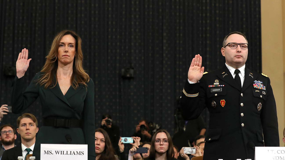 Jennifer Williams - Alexander Vindman are sworn in to testify before the House Intelligence Committee - November 19, 2019 - Getty-H 2019