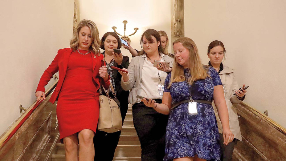 Katie Hill answers questions from reporters - House of Representatives October 31, 2019 - Getty-H 2019