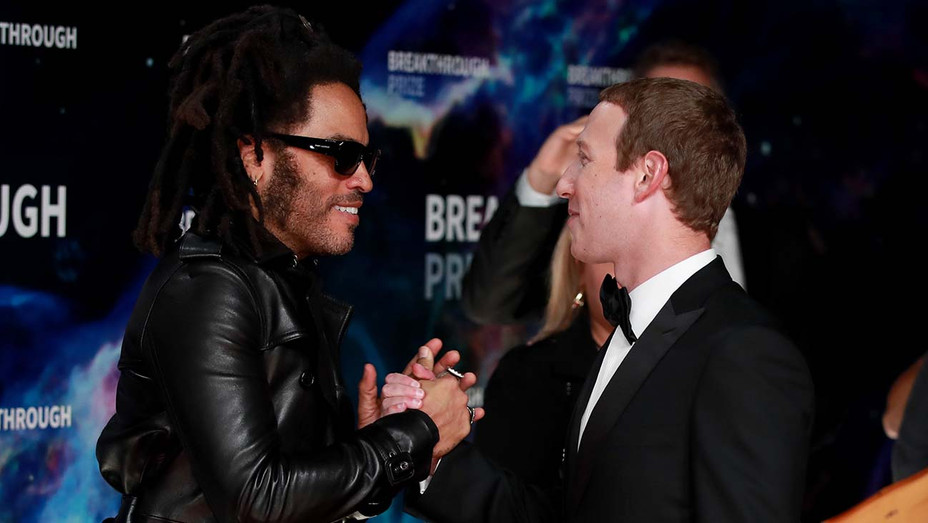 Lenny Kravitz and Mark Zuckerberg attend the 8th Annual Breakthrough Prize Ceremony - Getty -H 2019