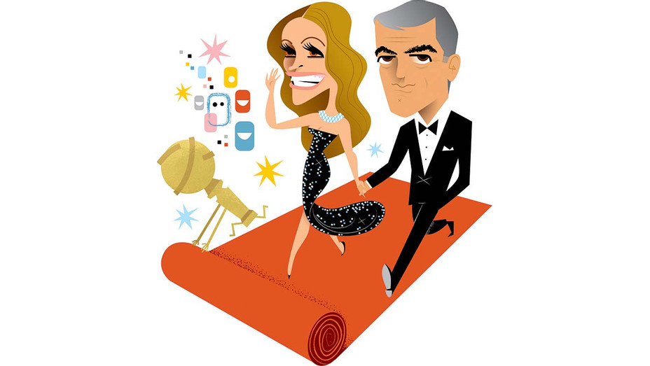 Julia + George Golden Globes  - Illustration by Kirsten Ulve - H 2019