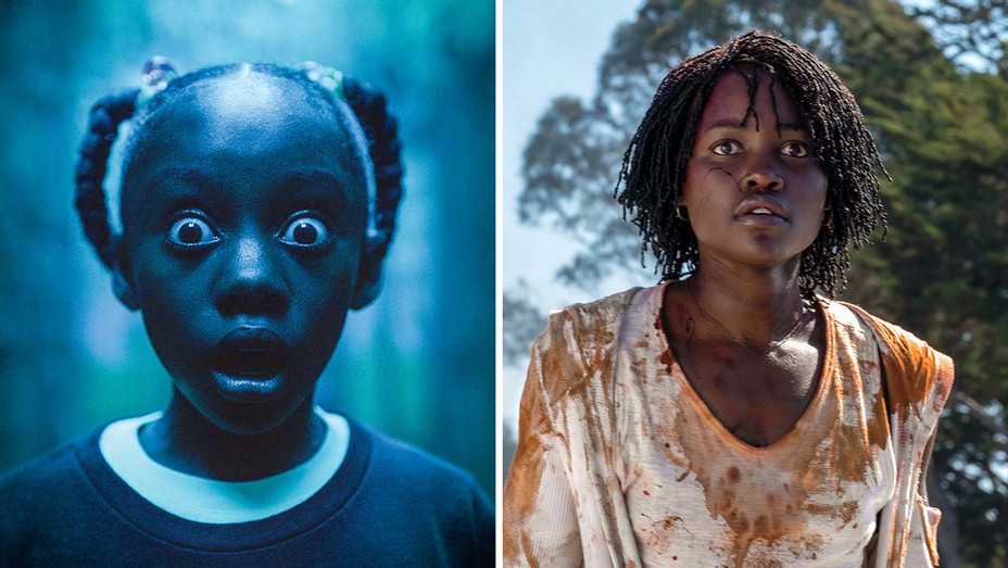 Lupita Nyong'o and Madison Curry as Adelaide in Us - Publicity Stills - Split - H -2019